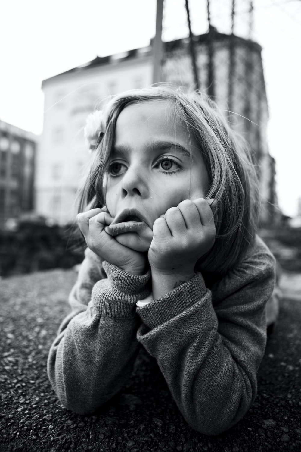 grayscale photo of girl doing face palm