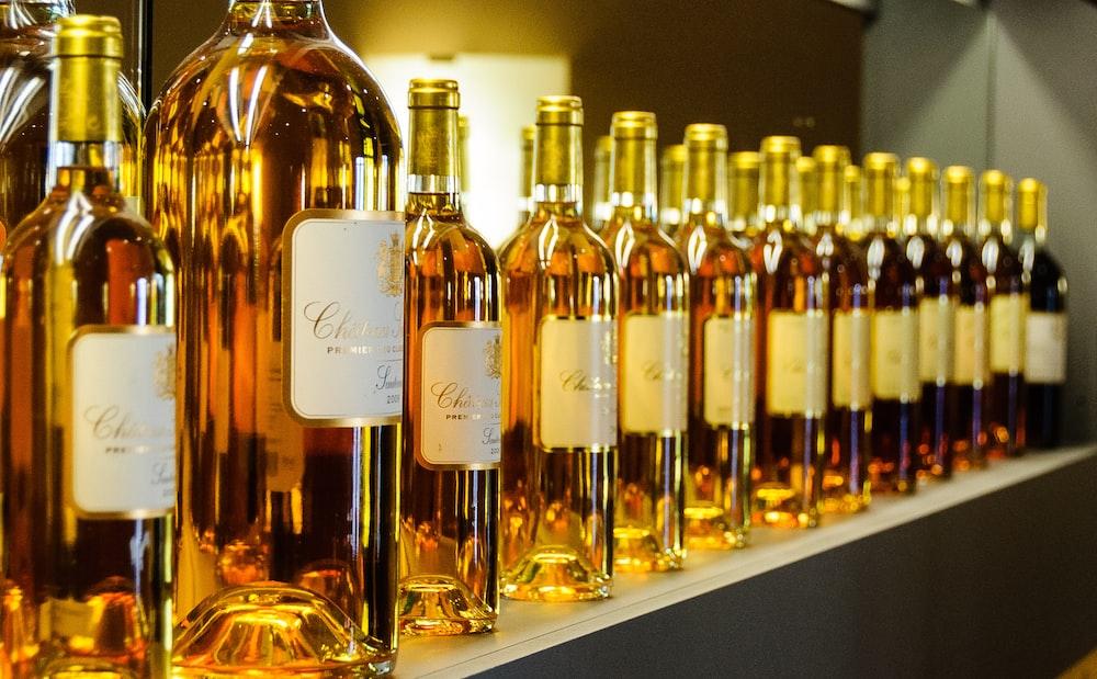 brown liquor bottles