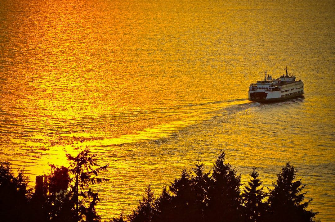 Ferry over golden water