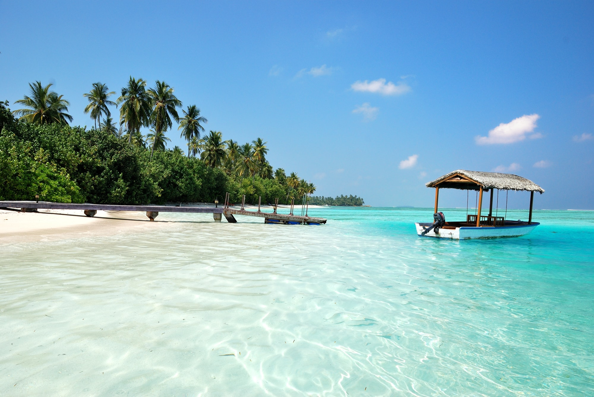 A fantastic beach on the island of Medhufushi  in the Maldives.