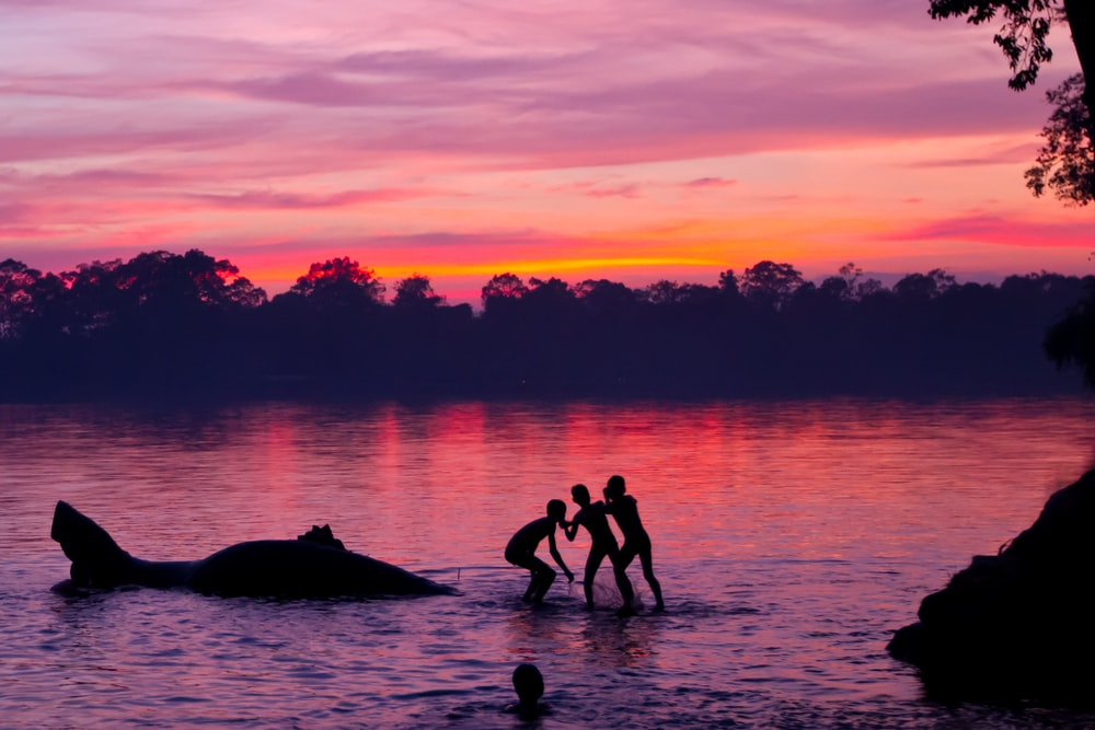 silhouette of children playing on lake
