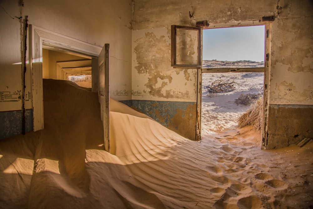 photography of sand inside the house