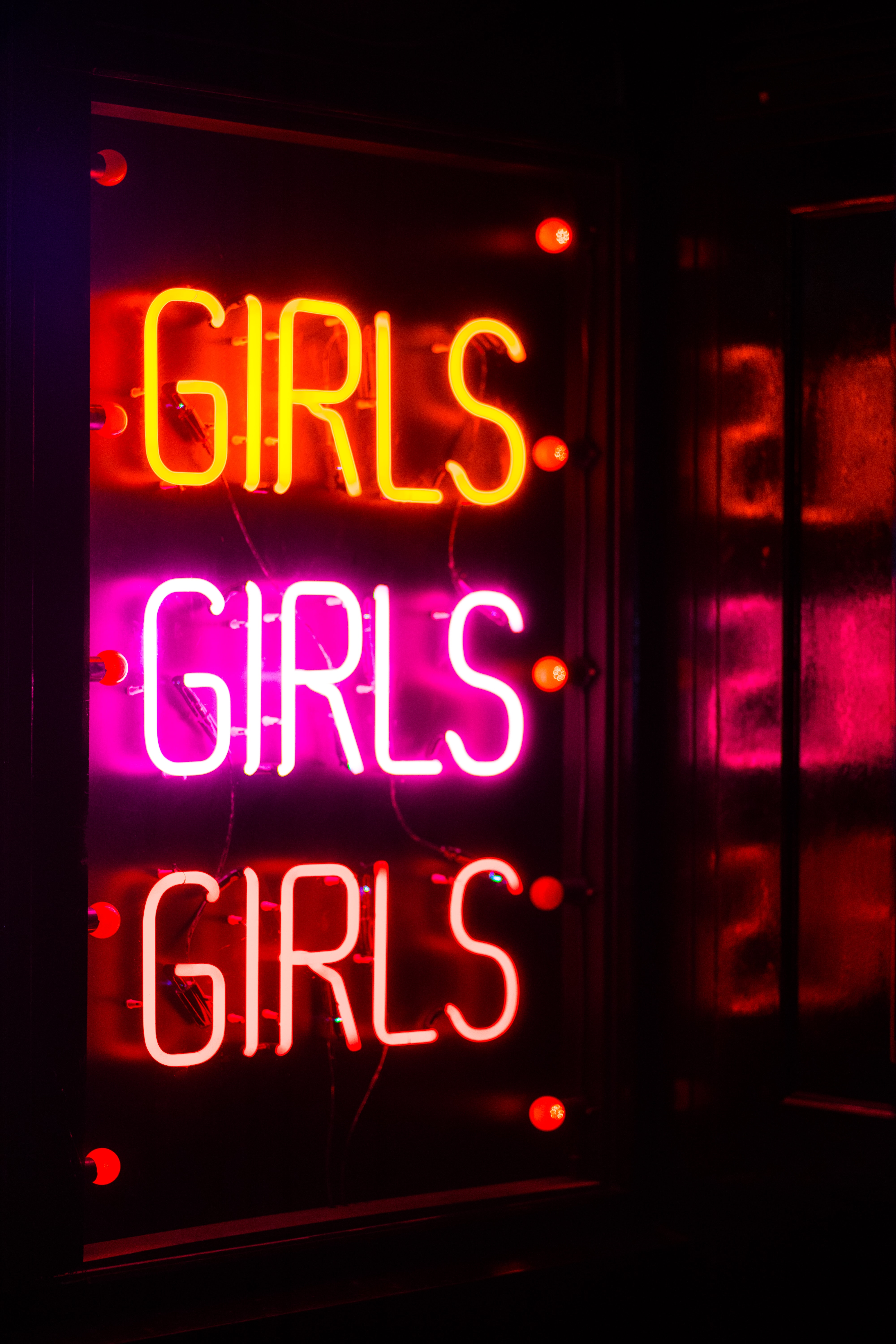 Girls neon light signage