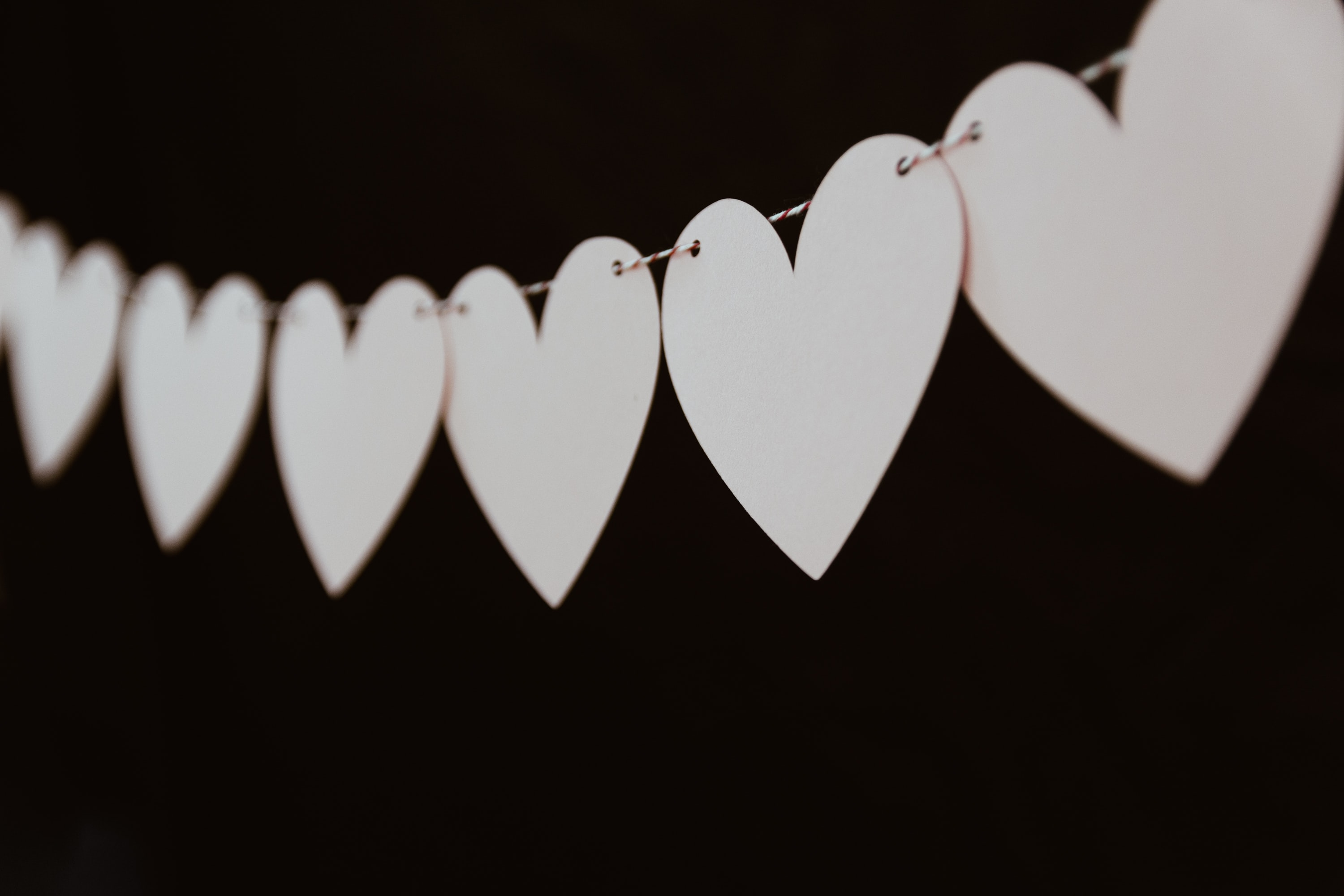 closeup photo of white heart bunting