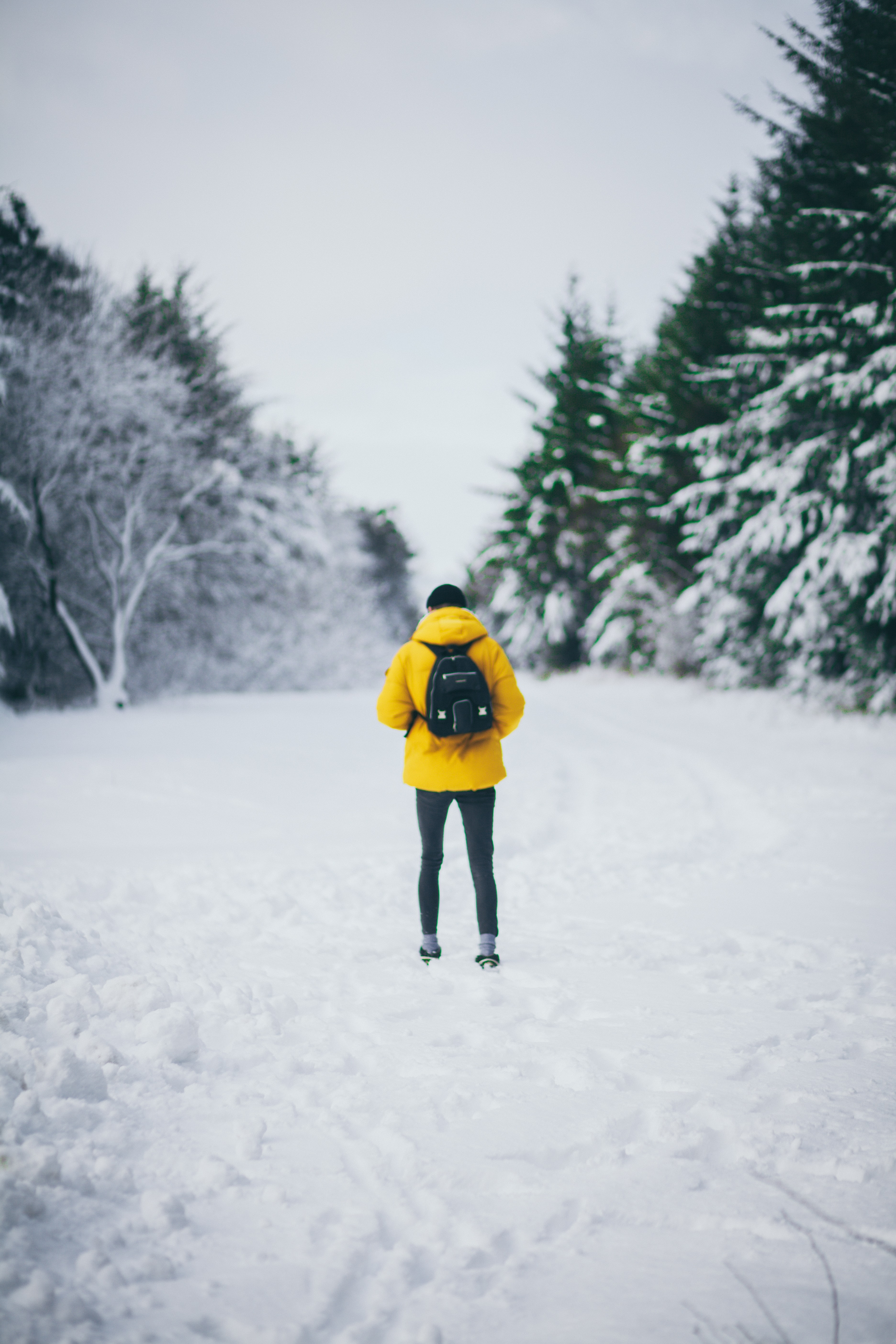 man standing on snowfield while carrying backpack during daytime