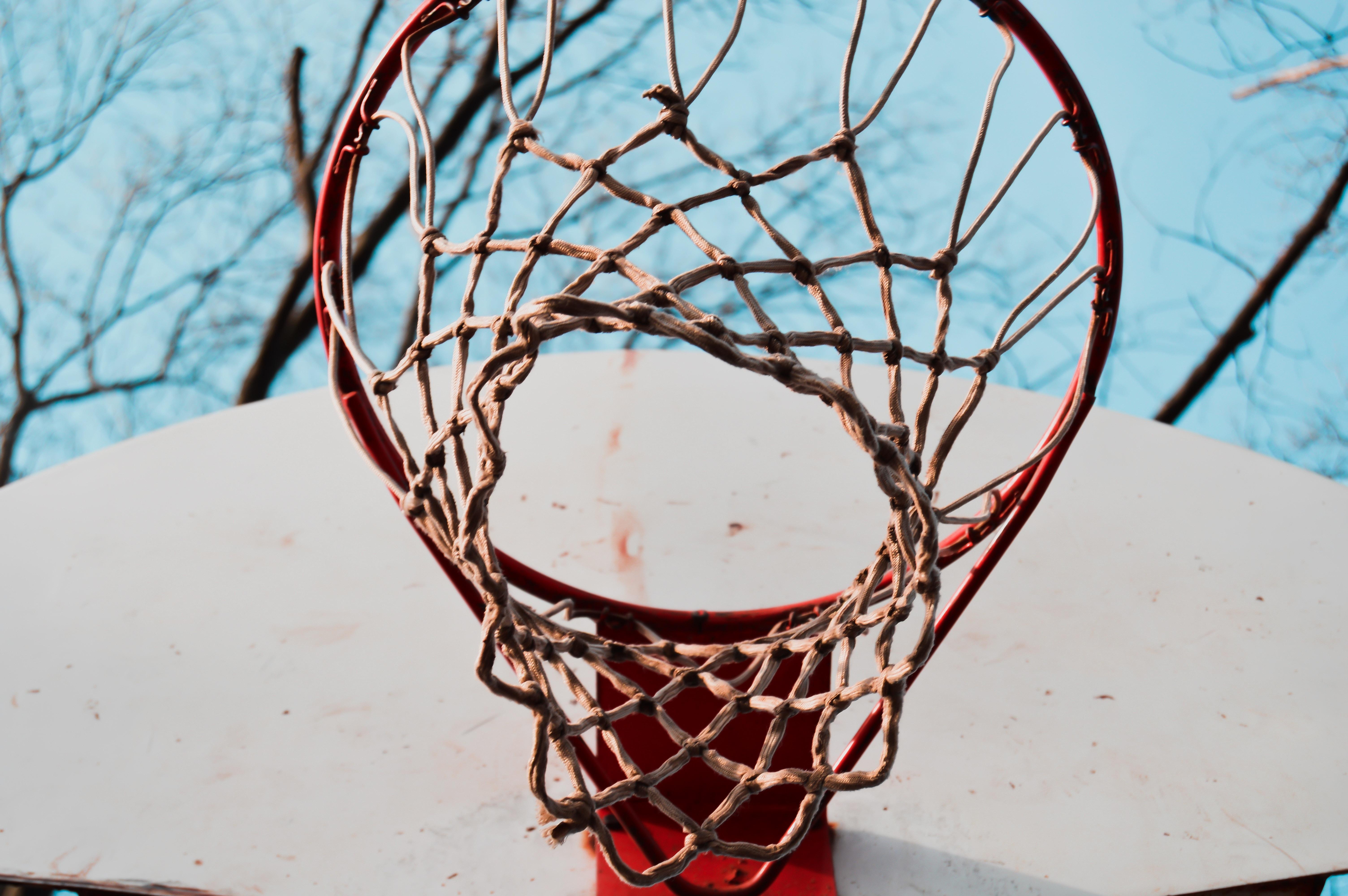 low angel view of basketball hoop