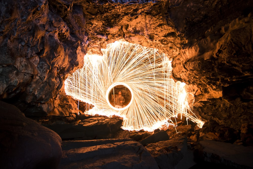 steel wool photography of fire dance