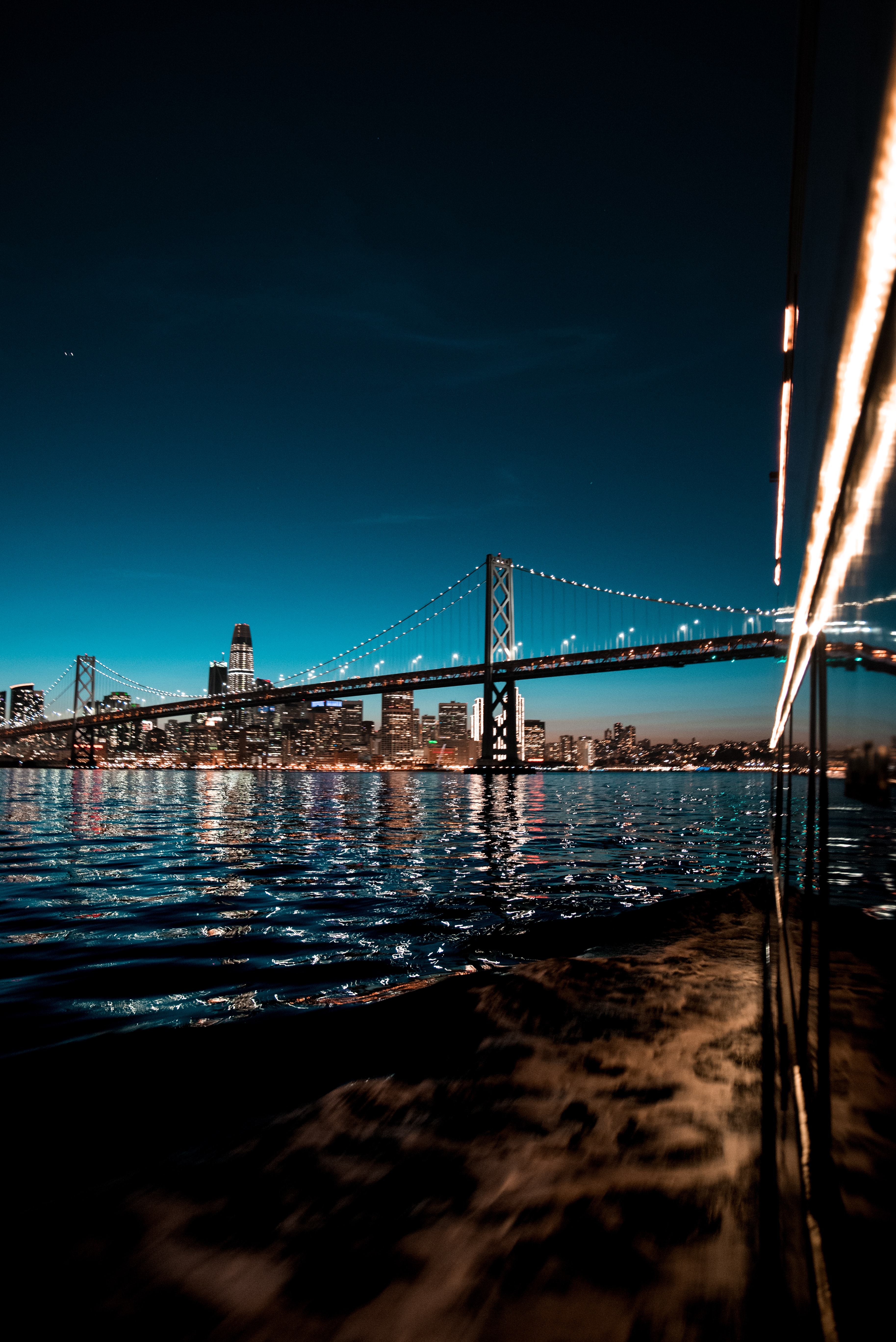 San Francisco-Oakland Bay Bridge, California during nighttime