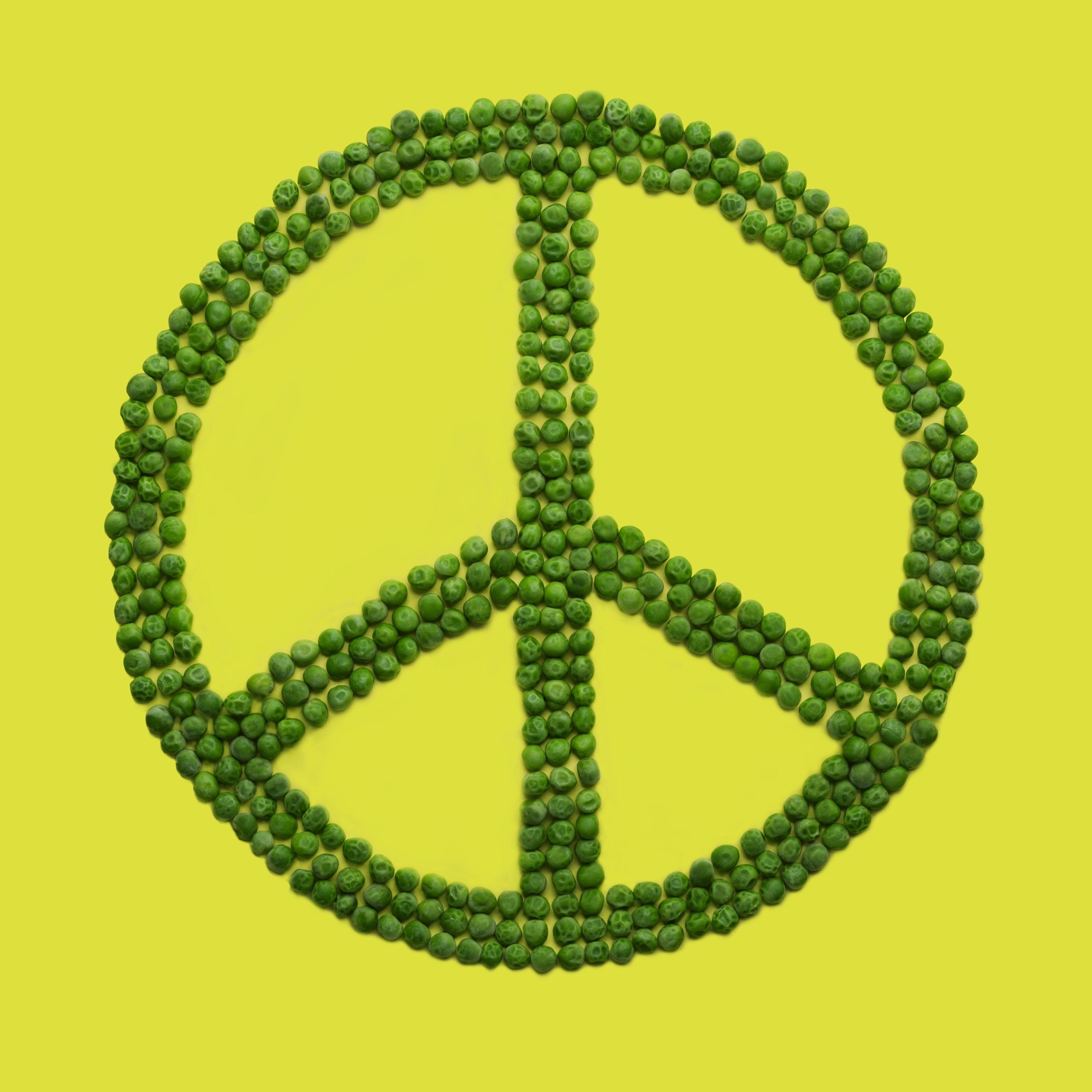 green peas peace sign