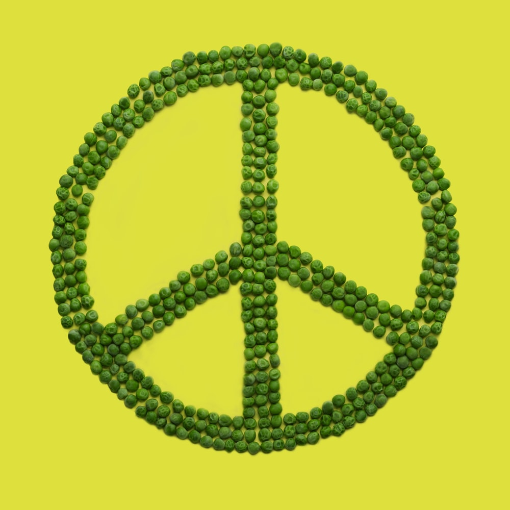green peas peace sign