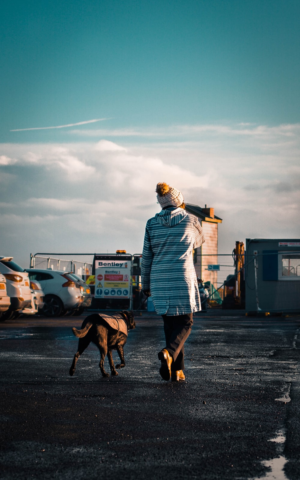 woman walking with her dog under blue sky during daytime