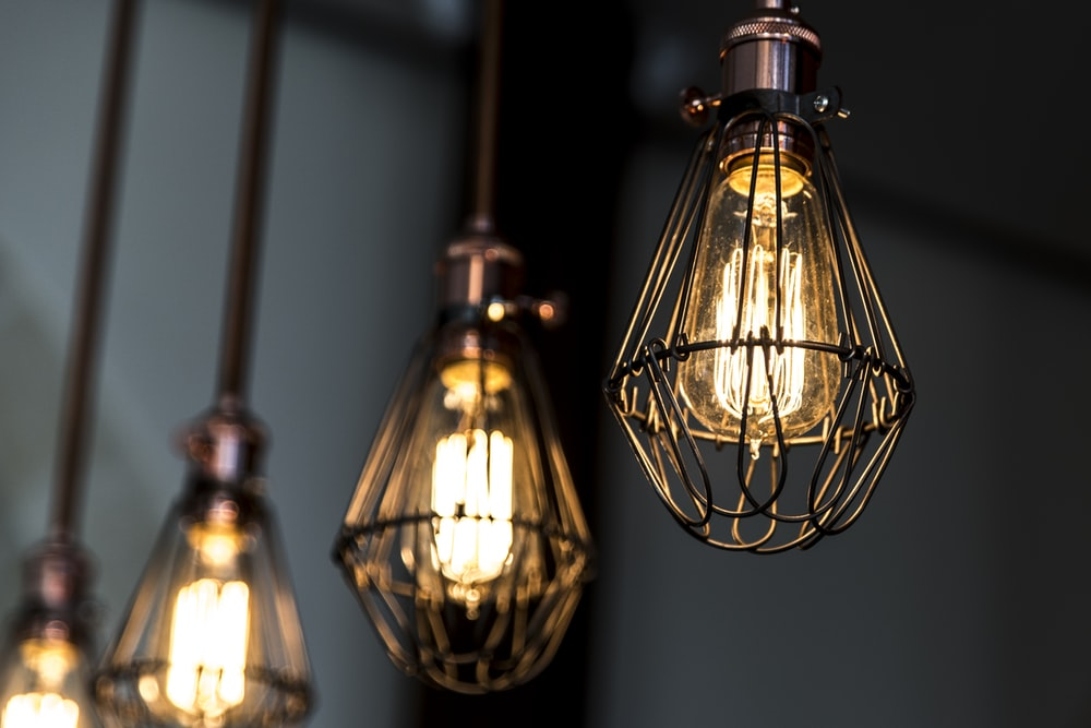 turned on Edison pendant lamp