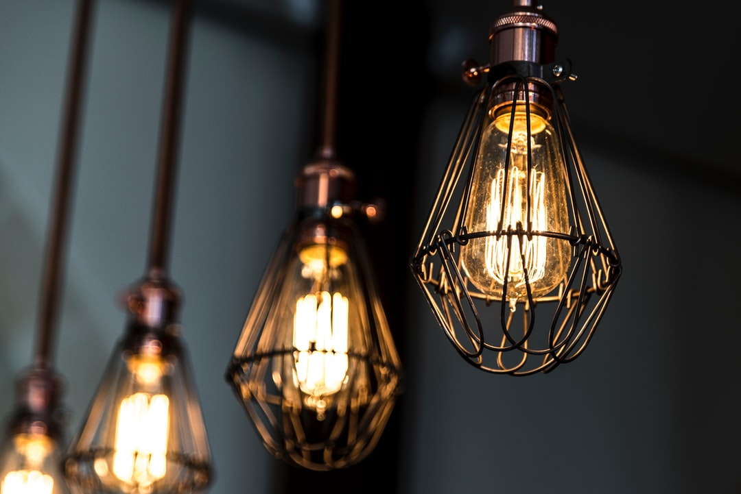 turned on Edison pendant lamp