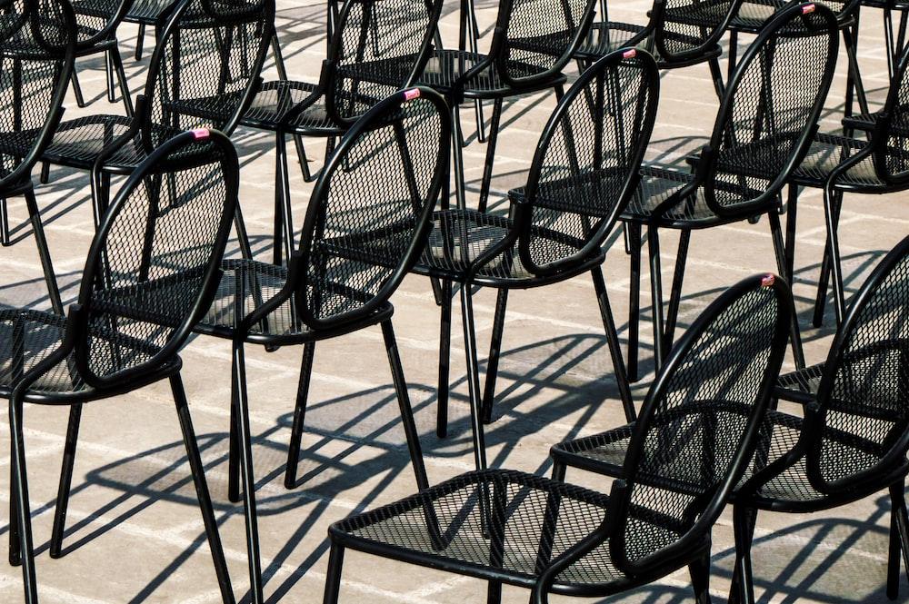 black metal chairs