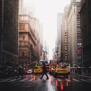 Caught in the rain in Manhattan