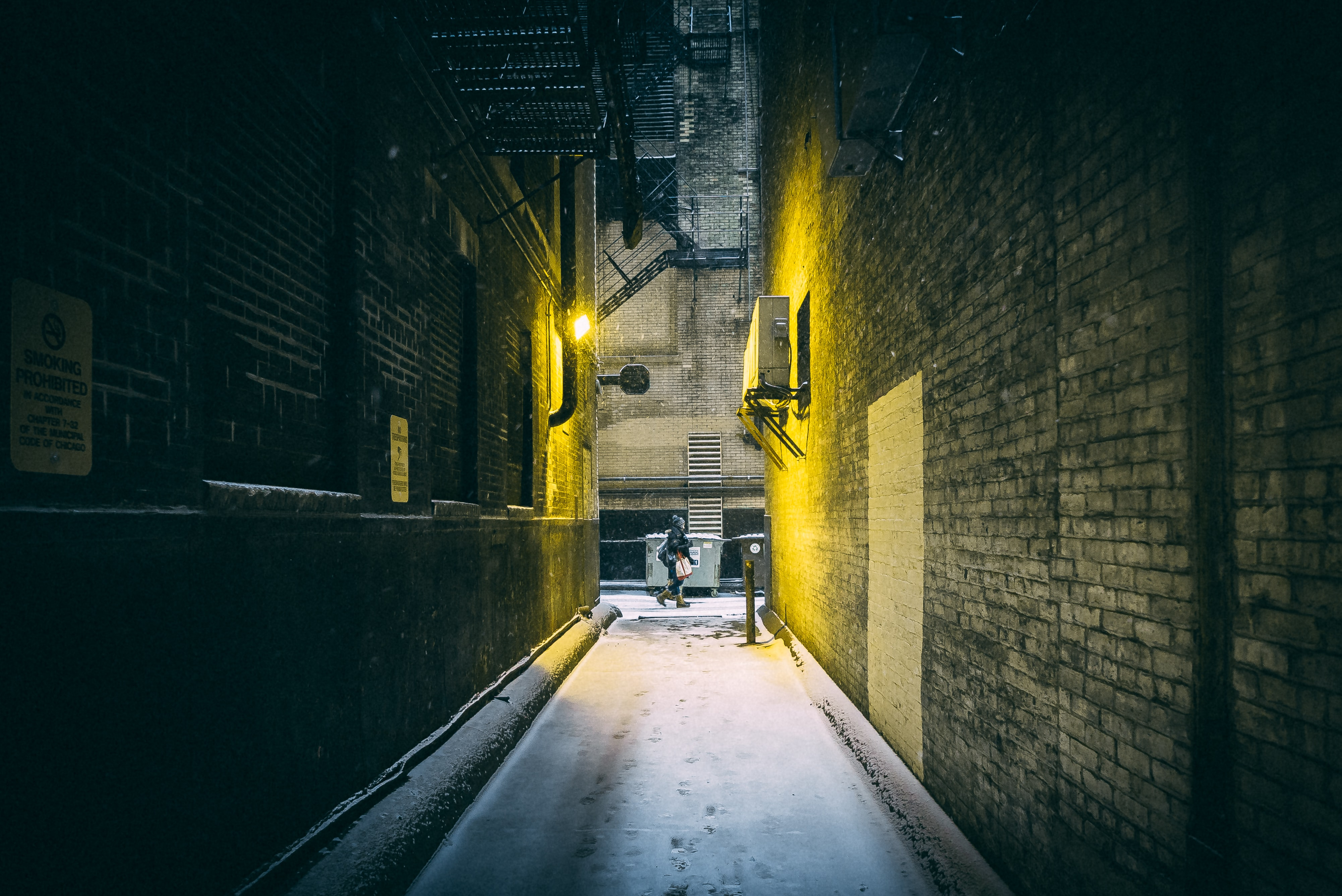 architectural photography of alley