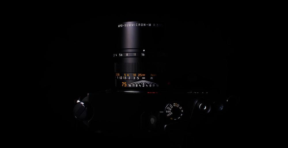 DSLR camera with black background