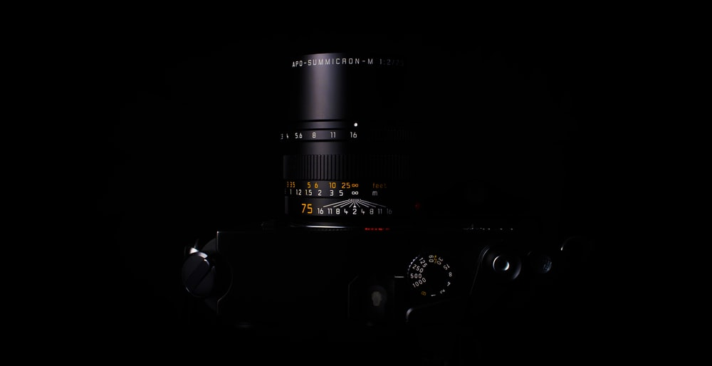 DSLR camera with black background