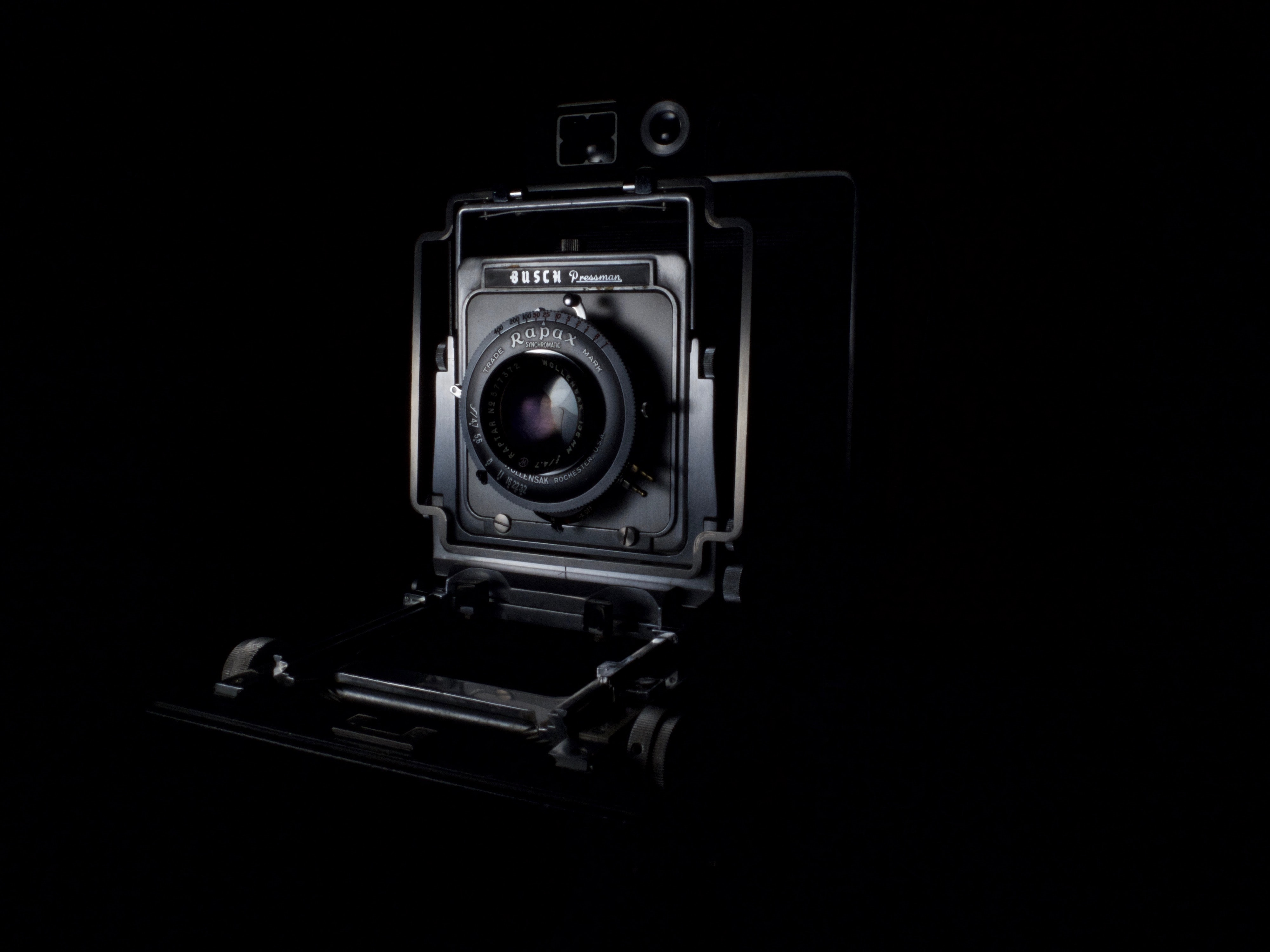 low light photography of vintage camera