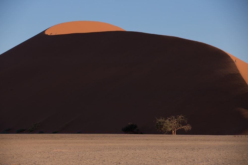 brown sand near mountain at daytime