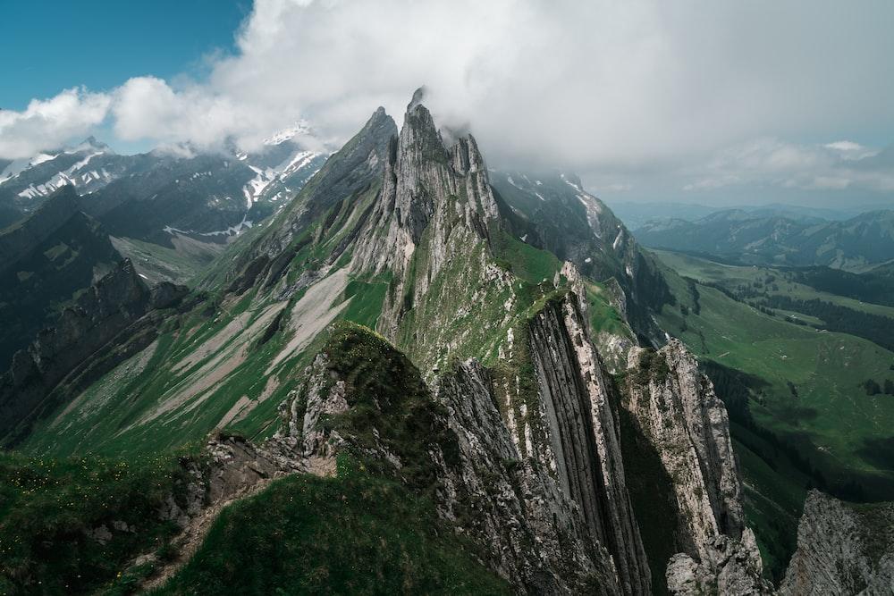 bird's eye photography of green mountain