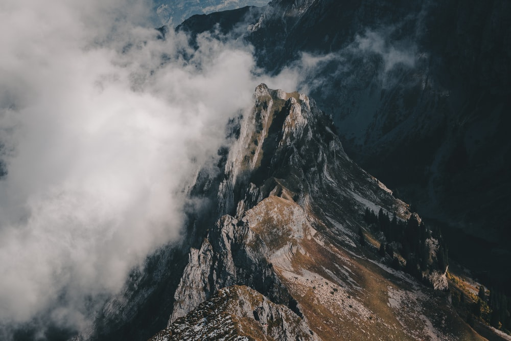 bird's eye view photograph of mountain