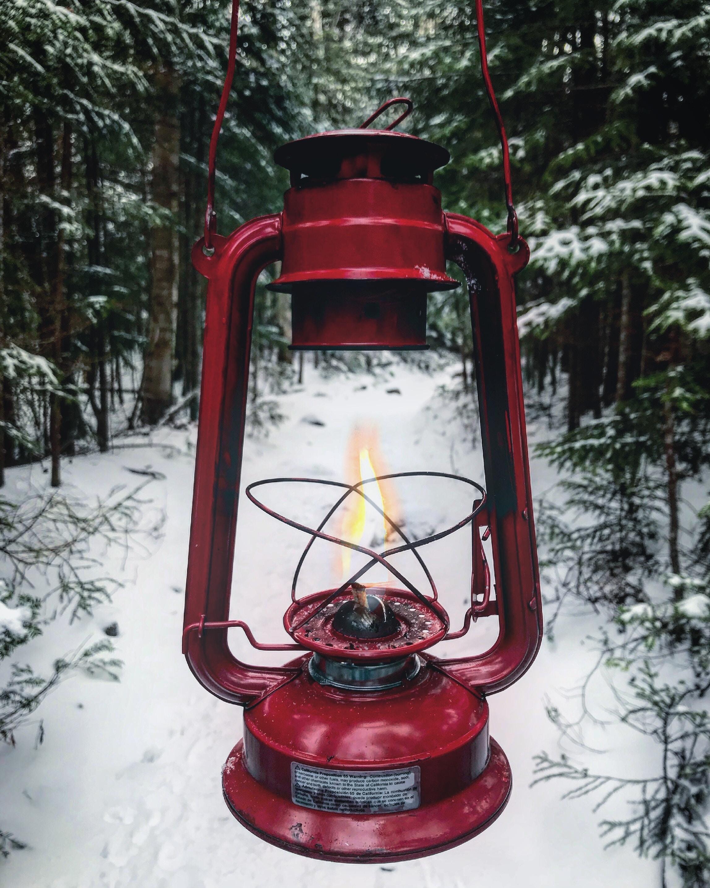 person holding red tubular lantern