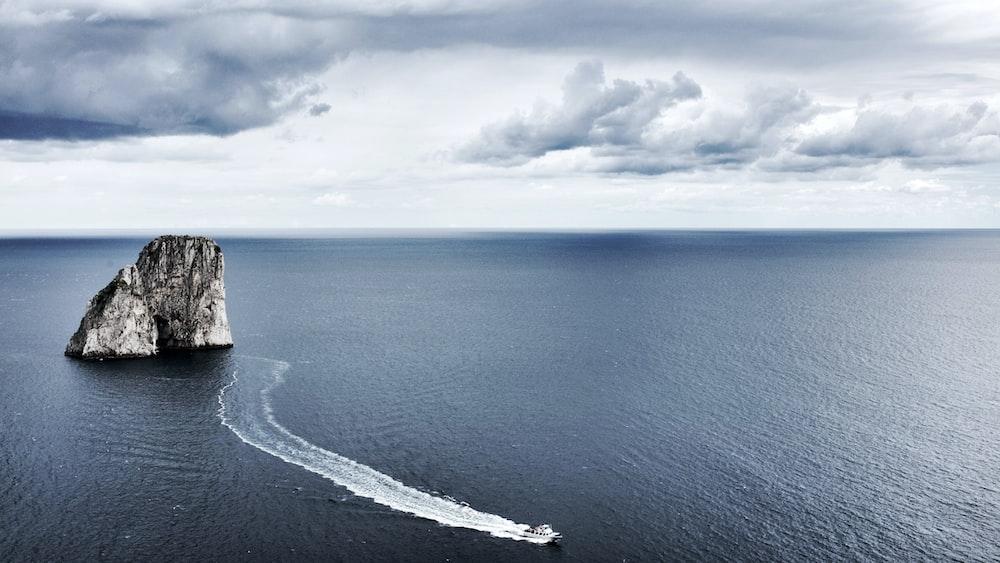 moving white speedboat