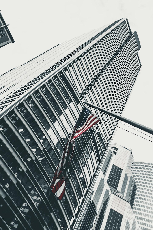 U.S.A. flag and skyscraper building
