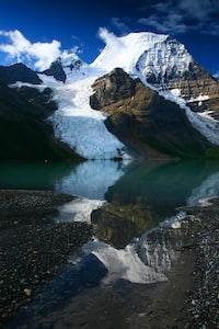 rocky mountain beside lake