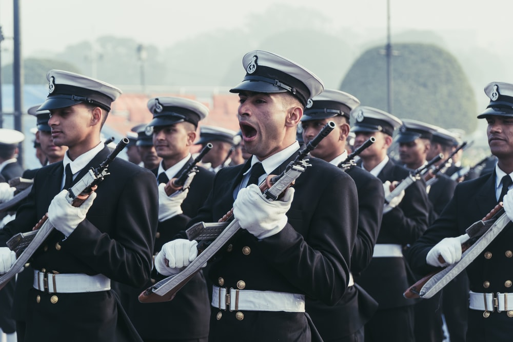 male soldier yawning