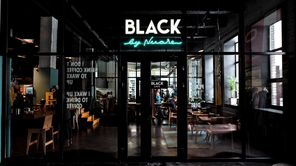 Black neon light signage