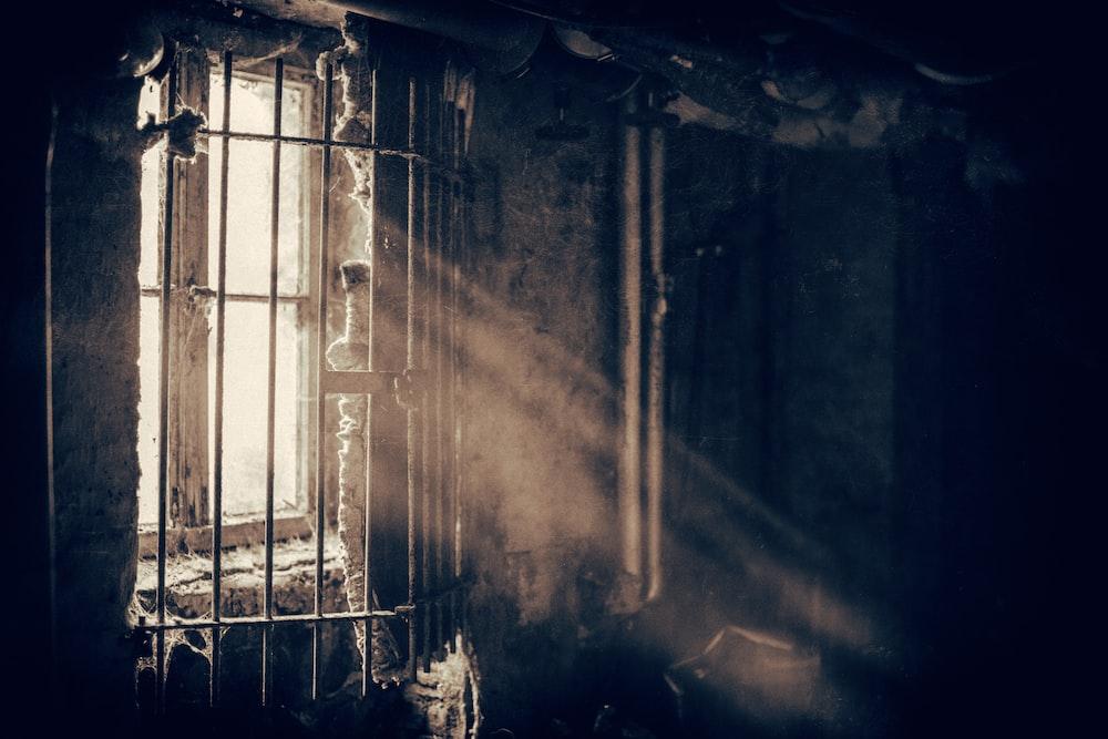 black window frame on dim light