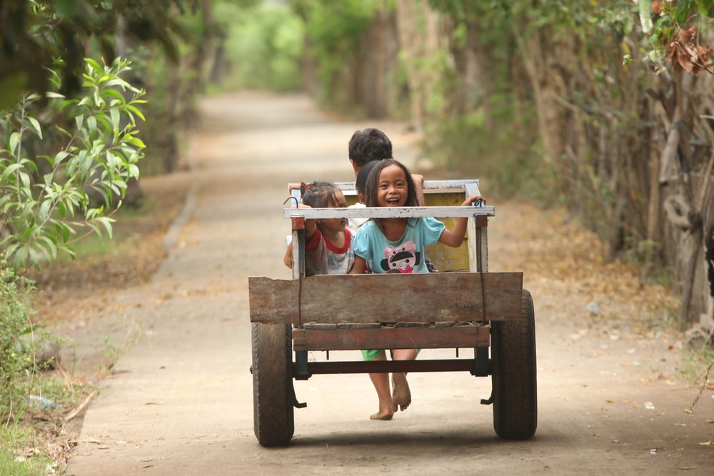 selective focus photo of two children riding on brown wooden cart