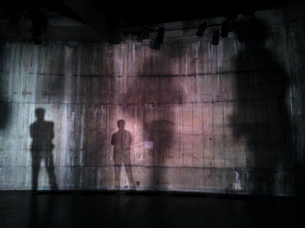 silhouette of man standing near wall on dark area
