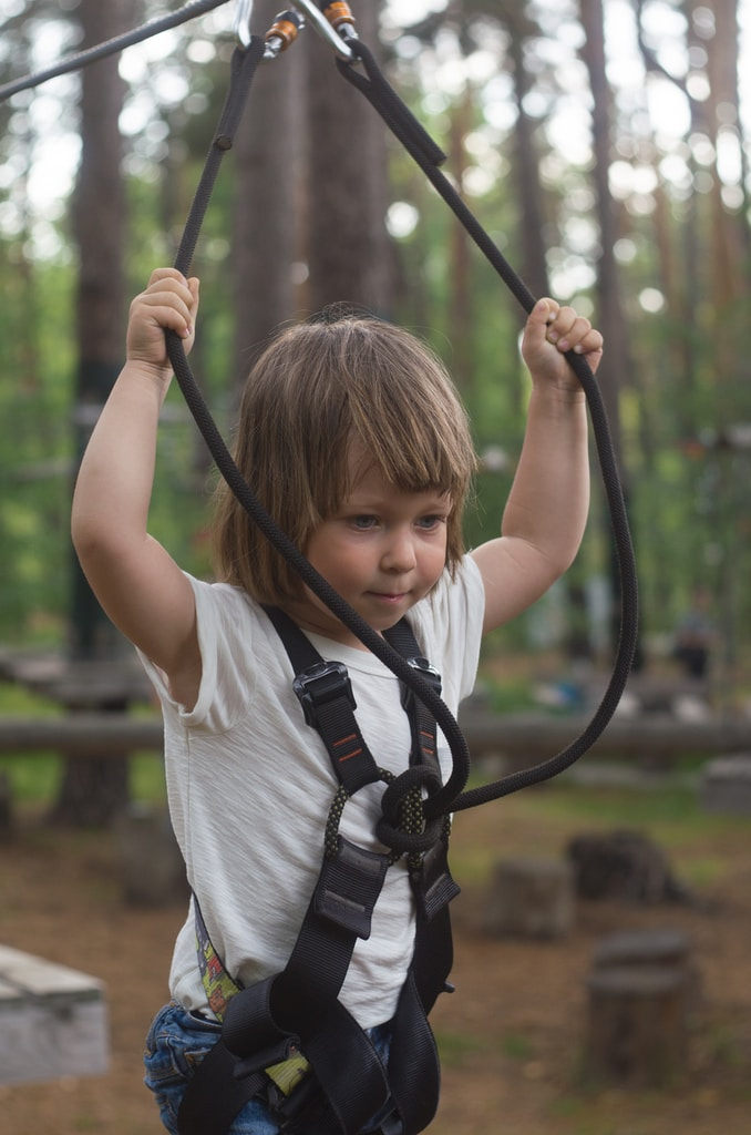 toddler riding on harness
