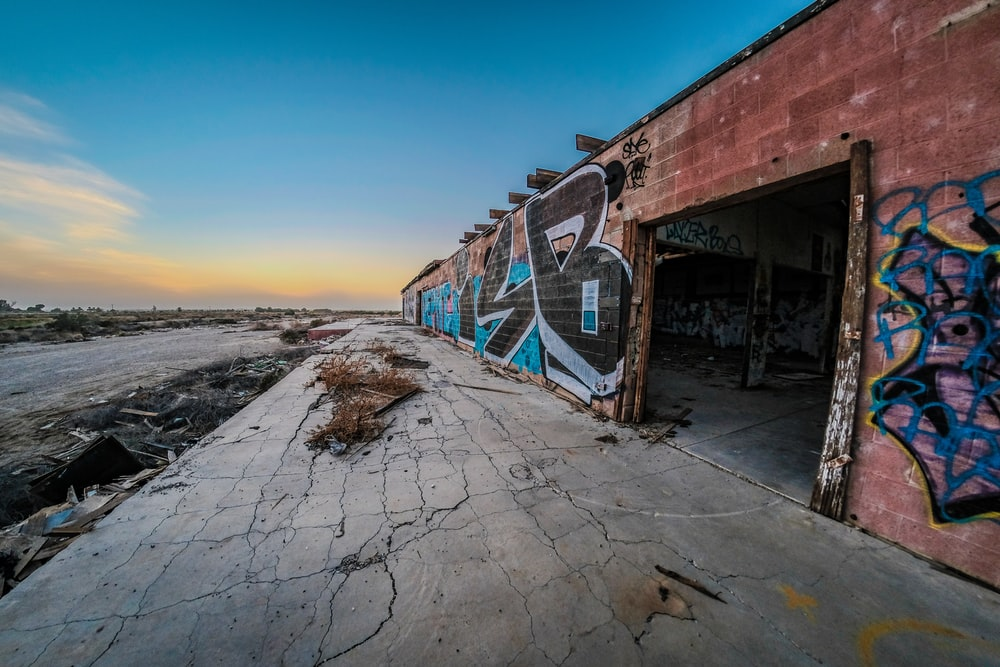 wall printed with graffiti