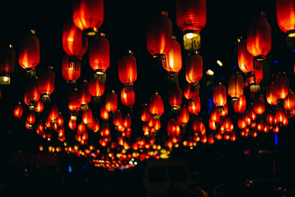orange paper lanterns during night time