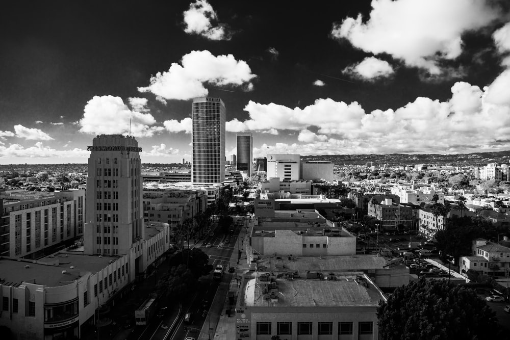 greyscale photography of city landscape
