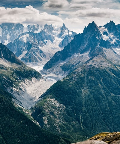 Hiking to Lac Blanc gives the best views across to the major peaks close to Mont Blanc. This panorama picture was made in July.