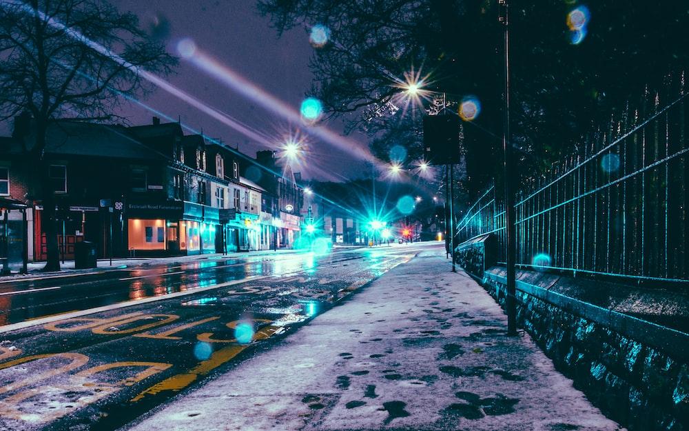 asphalt road during night time