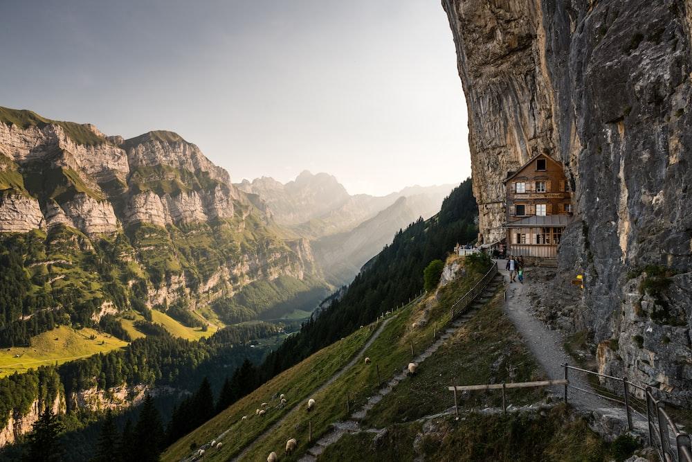 brown cabin near mountain