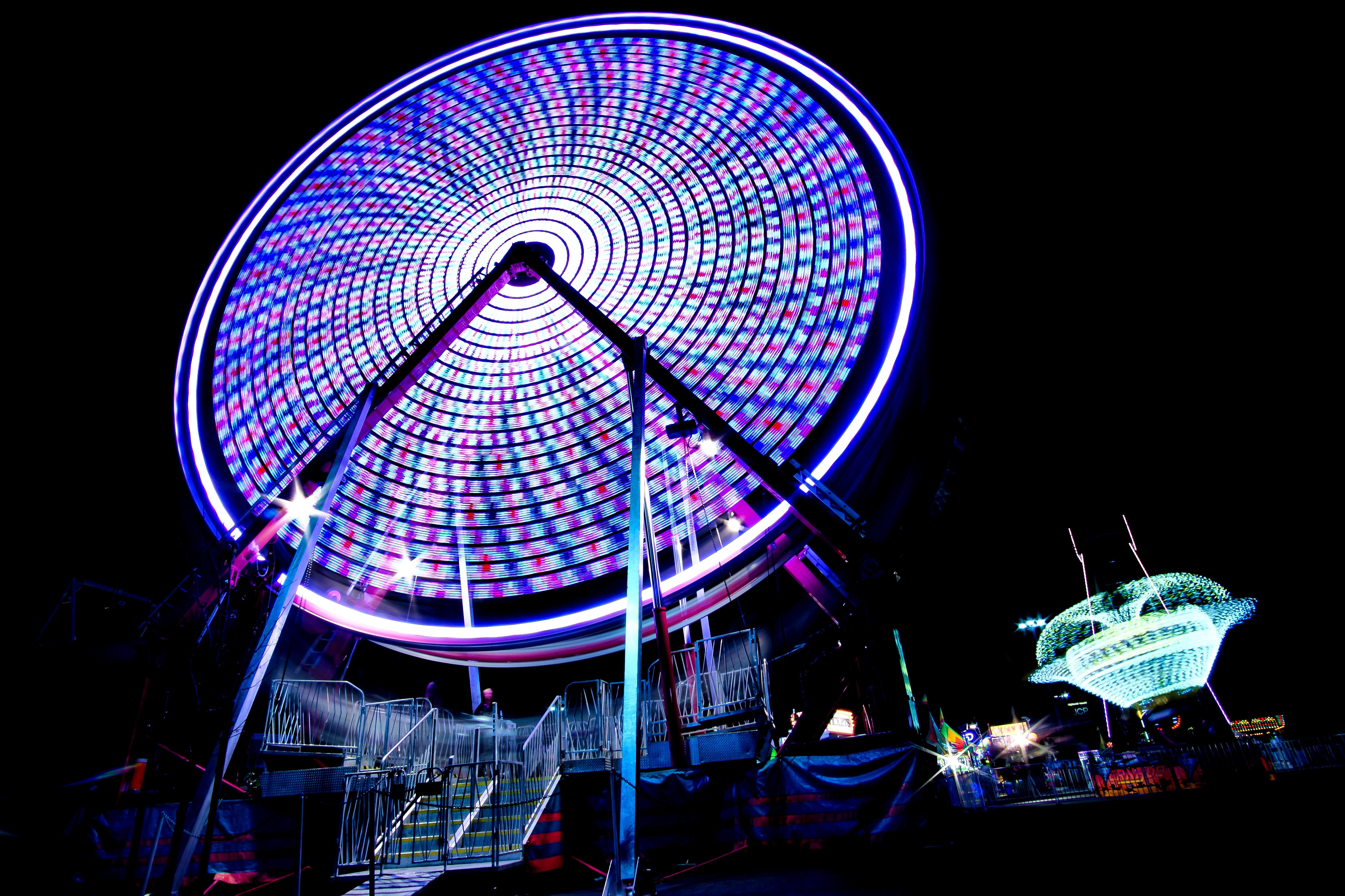purple lighted Ferris wheel