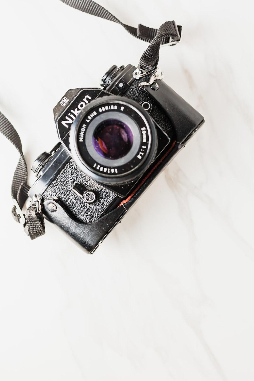 black Nikon film camera