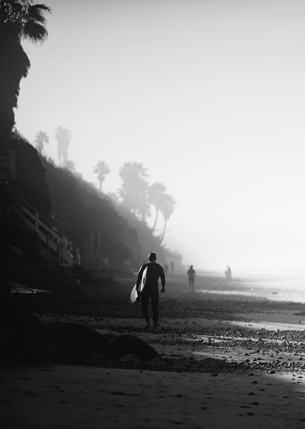 silhouette of person holding surfboard on shoreline