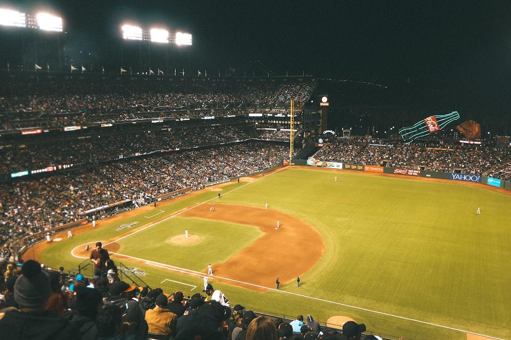 baseball game during nighttime
