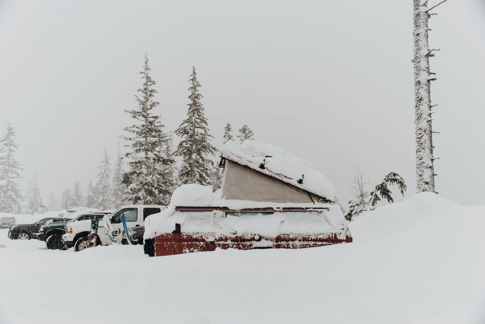 snow-covered red and white cars