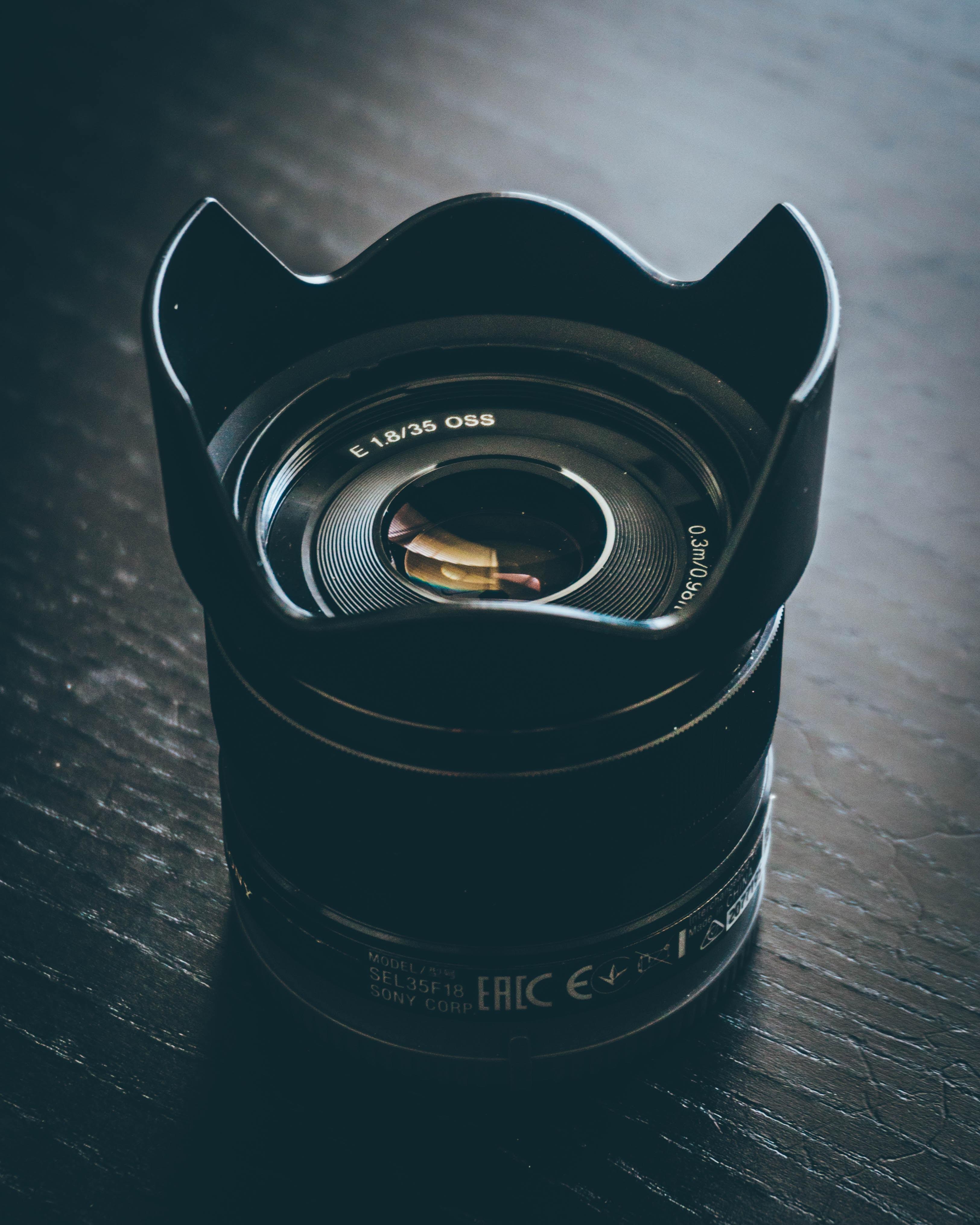 black stabilizer camera lens