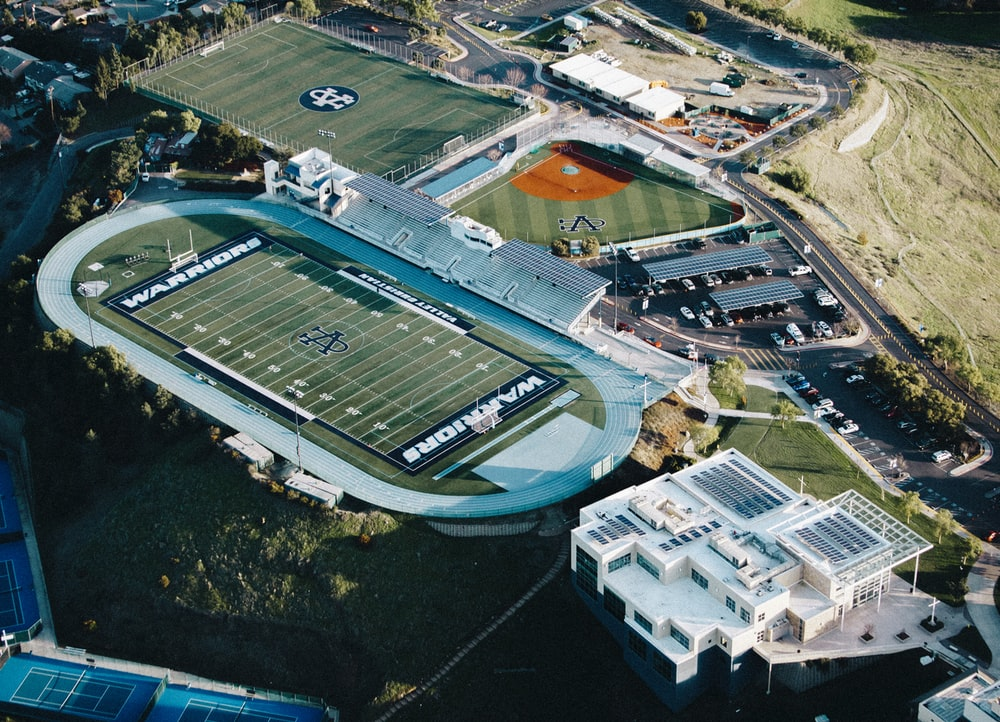 aerial view of Warriors football stadium