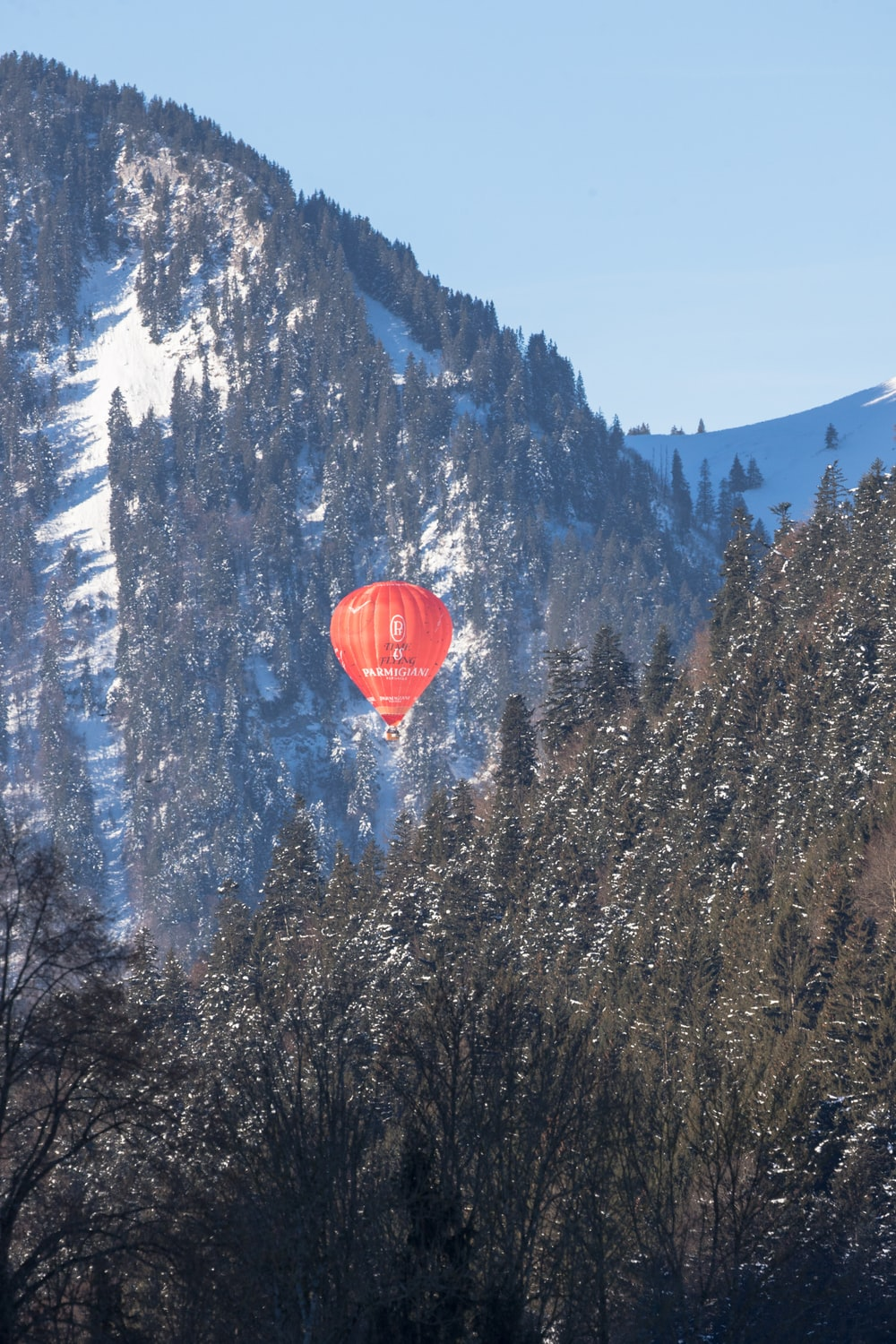 red air balloon between green mountains with trees